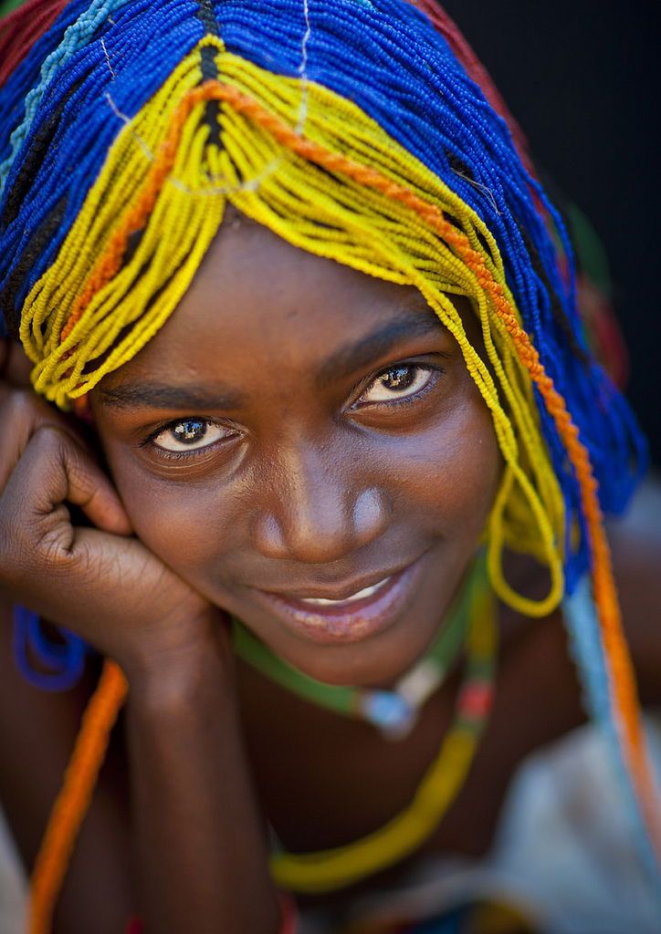 Mudimba Girl With A Beaded Wig Called Misses Ena, Village Of Combelo, Angola