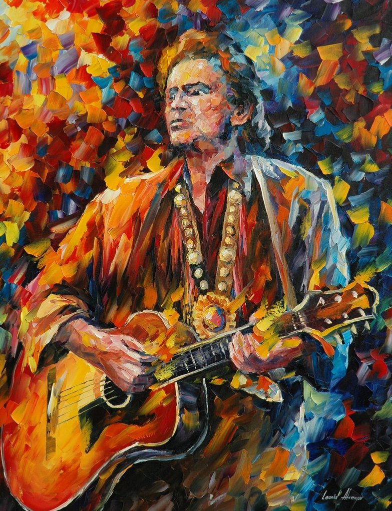 johnny_cash___afremov_by_leonidafremov-d4em6c1